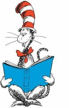Cat in the Hat reading a book